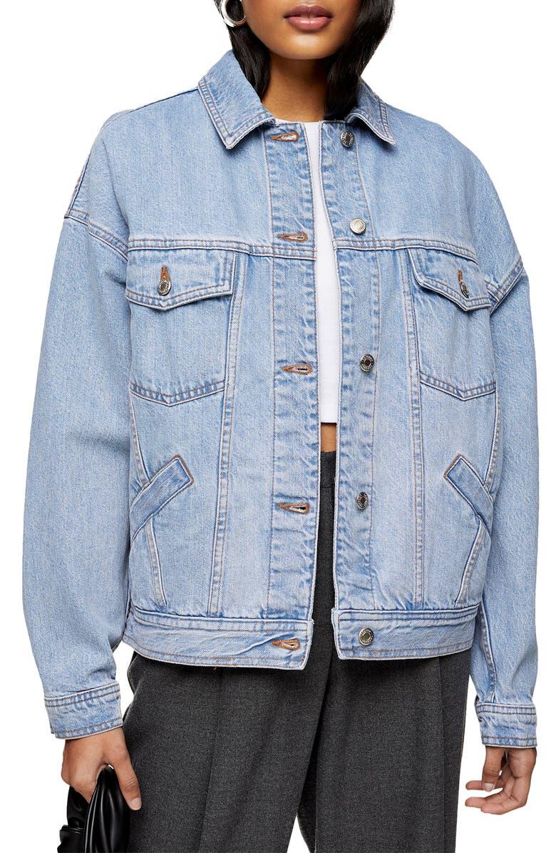 TOPSHOP Oversize Denim Jacket, Main, color, MID DENIM