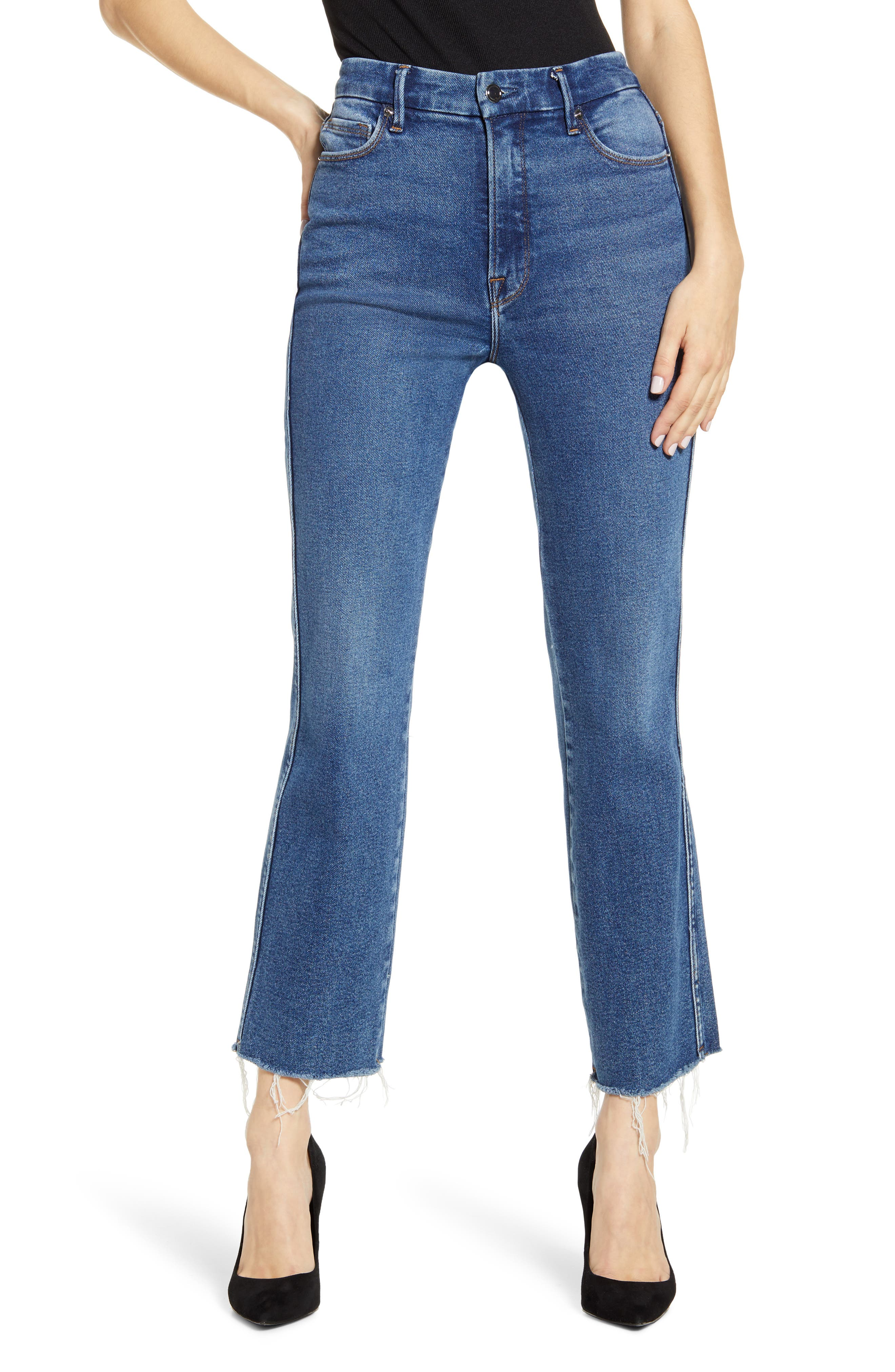 Good American Good Curve High Waist Ankle Straight Leg Jeans (Blue 502) (Regular & Plus Size)