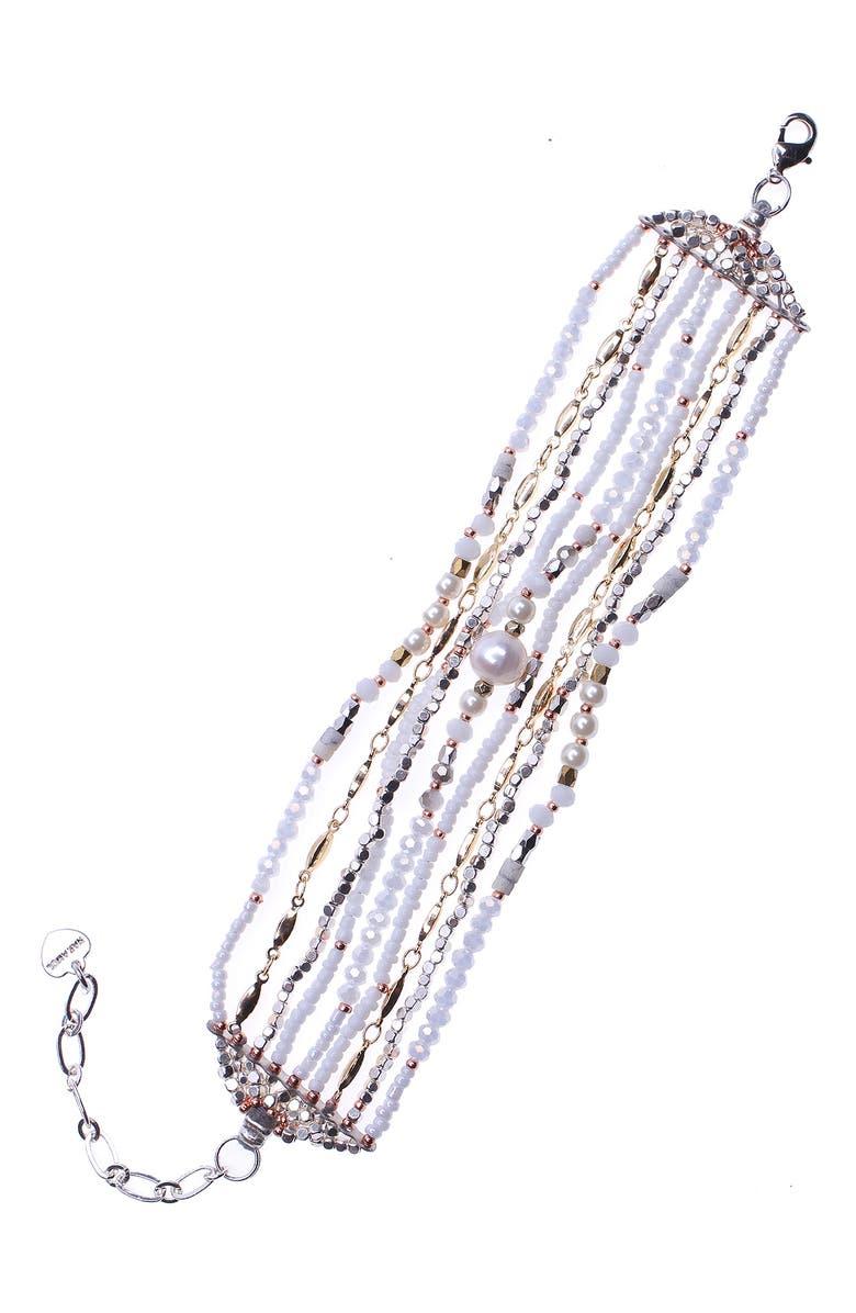 NAKAMOL CHICAGO Freshwater Pearl Multistrand Bracelet, Main, color, WHITE