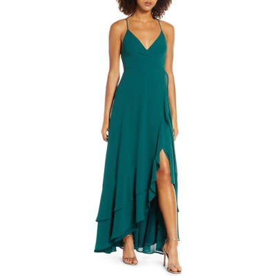 Lulus In Love Forever Lace-Up Back Chiffon Gown, Green