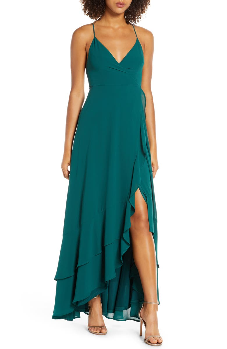LULUS In Love Forever Lace-Up Back Chiffon Gown, Main, color, DARK EMERALD