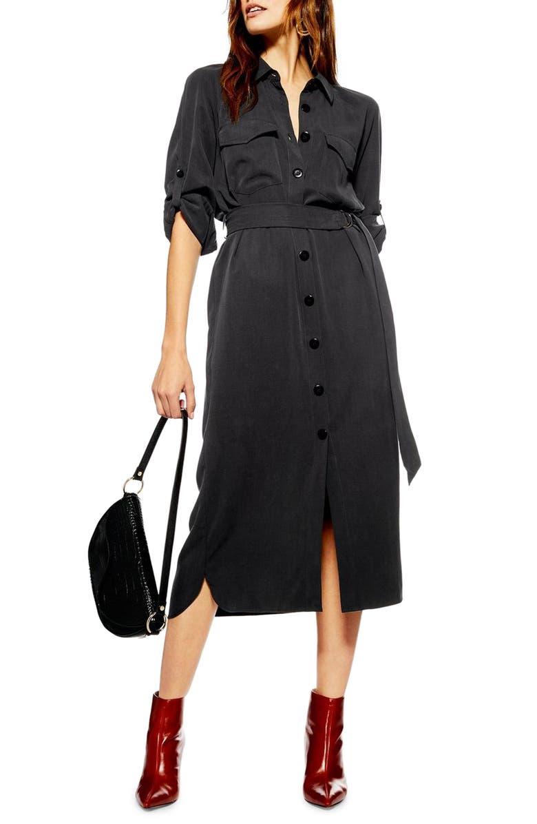 TOPSHOP Utility Midi Shirtdress, Main, color, BLACK