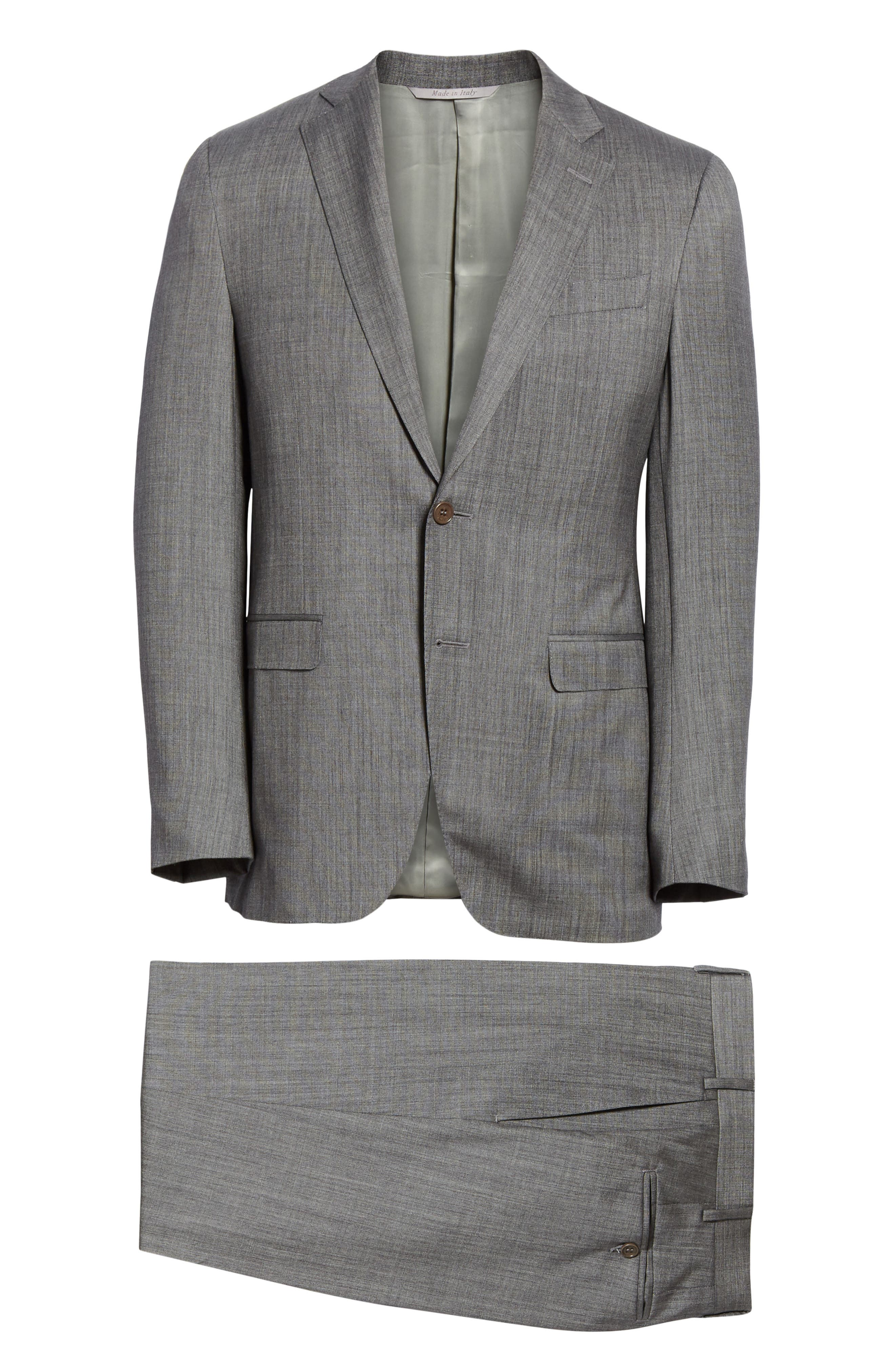 ,                             Milano Classic Fit Solid Wool & Silk Suit,                             Alternate thumbnail 7, color,                             DARK GREY
