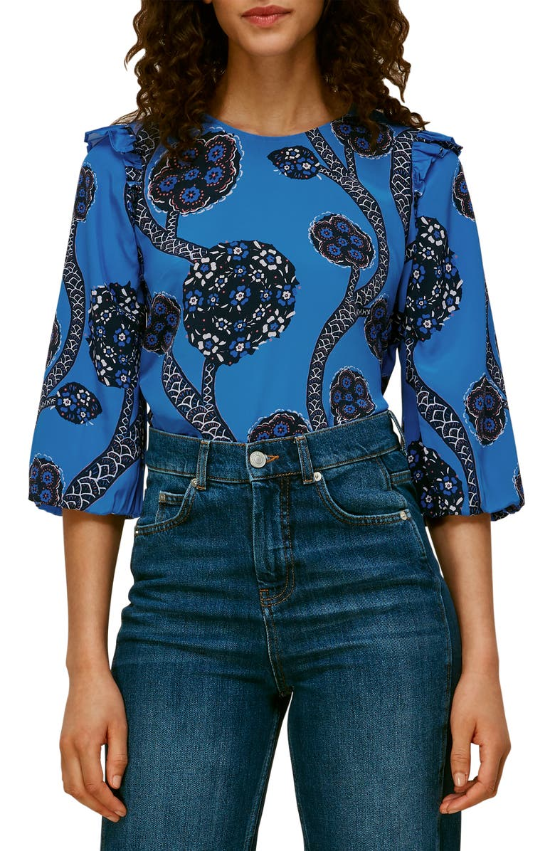 WHISTLES Trailing Seedpod Floral Silk Top, Main, color, MULTI