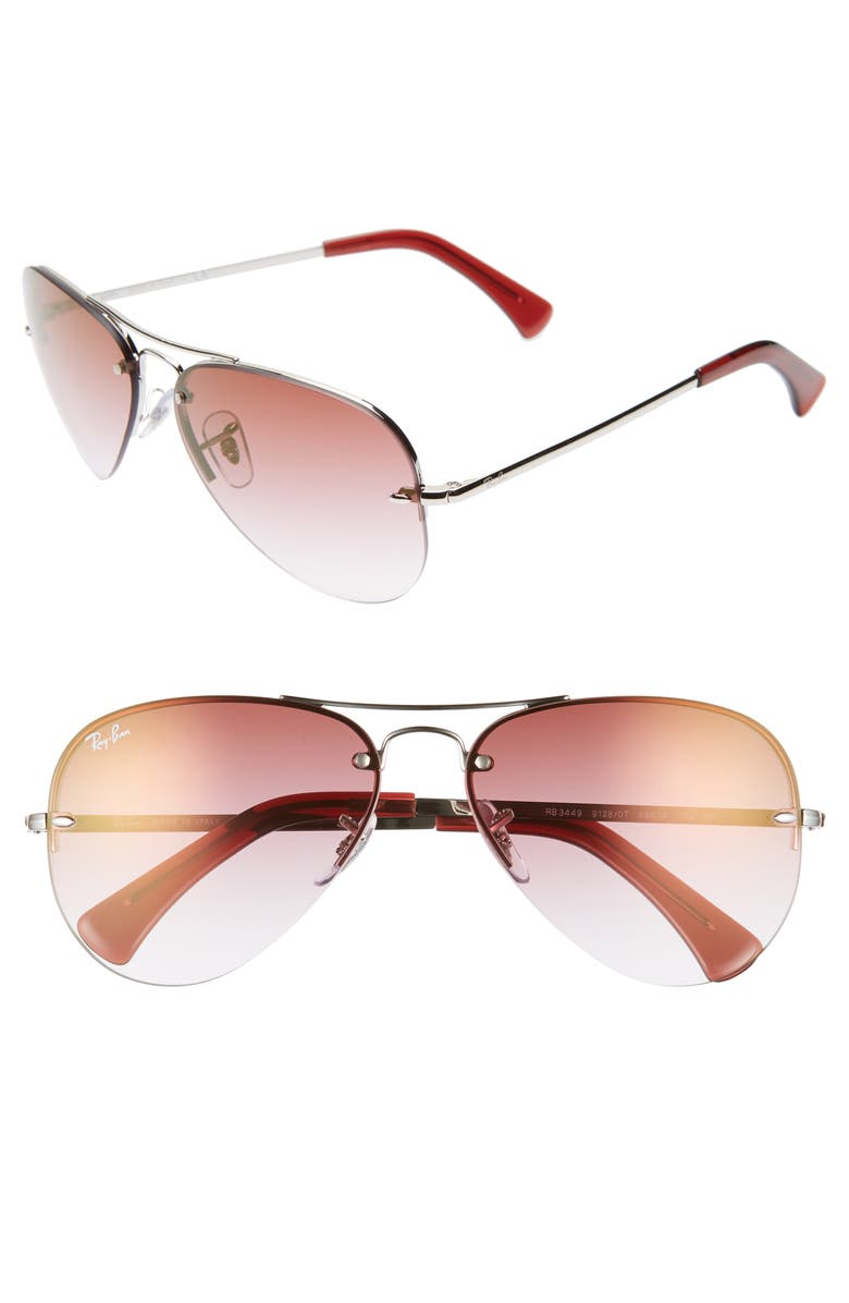 89d9c7b2f1 Ray-Ban Highstreet 59mm Semi Rimless Aviator Sunglasses