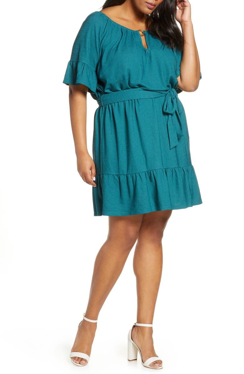 MICHAEL MICHAEL KORS Notch Neck Belted Dress, Main, color, ATLANTIC