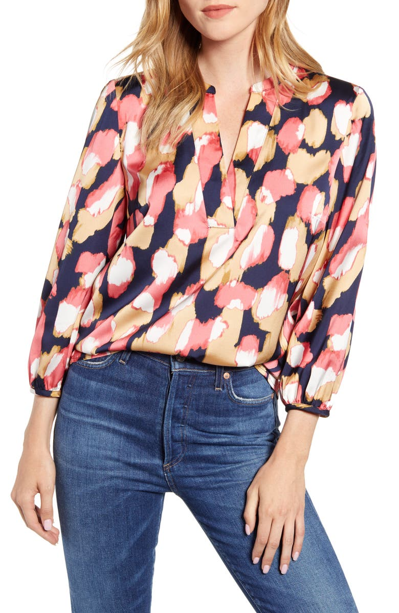 J.CREW Midnight Floral Open V-Neck Top, Main, color, NAVY CORAL