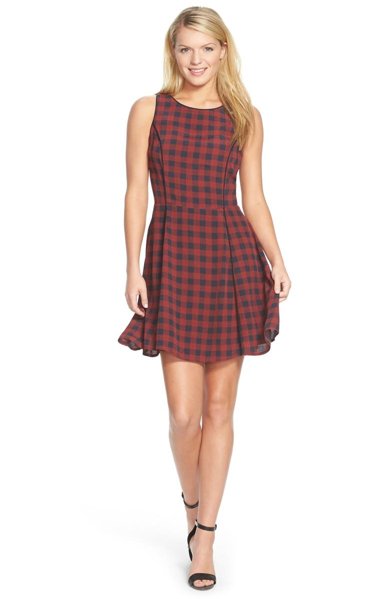 SANCTUARY 'Charmer' Check Plaid Fit & Flare Dress, Main, color, 600
