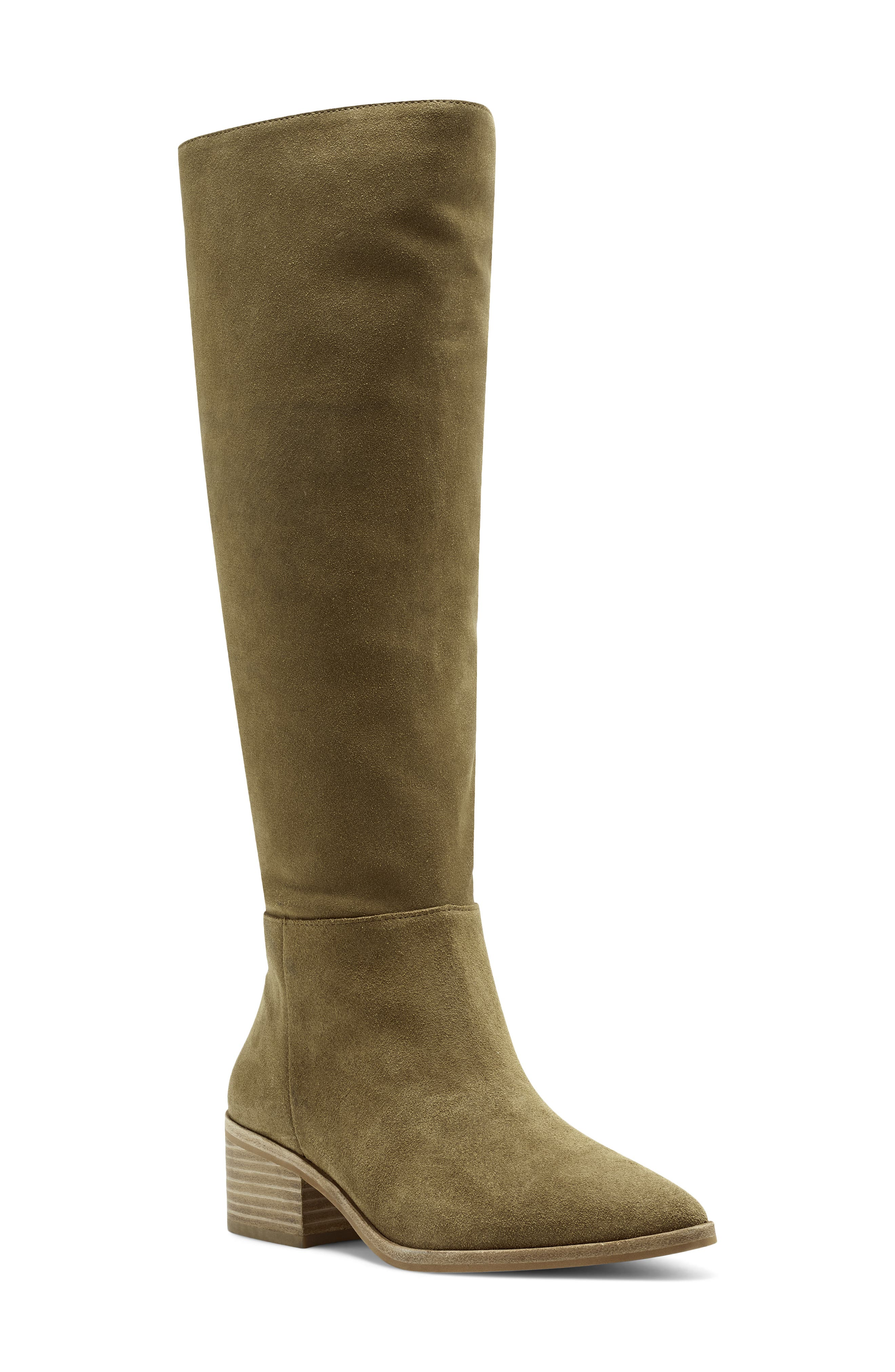 Grounded by a sturdy stacked heel, this everyday boot is cut with a figure-elongating knee-high shaft and sharp, pointy toe. Style Name: Vince Camuto Beaanna Knee High Boot (Women). Style Number: 6052316. Available in stores.