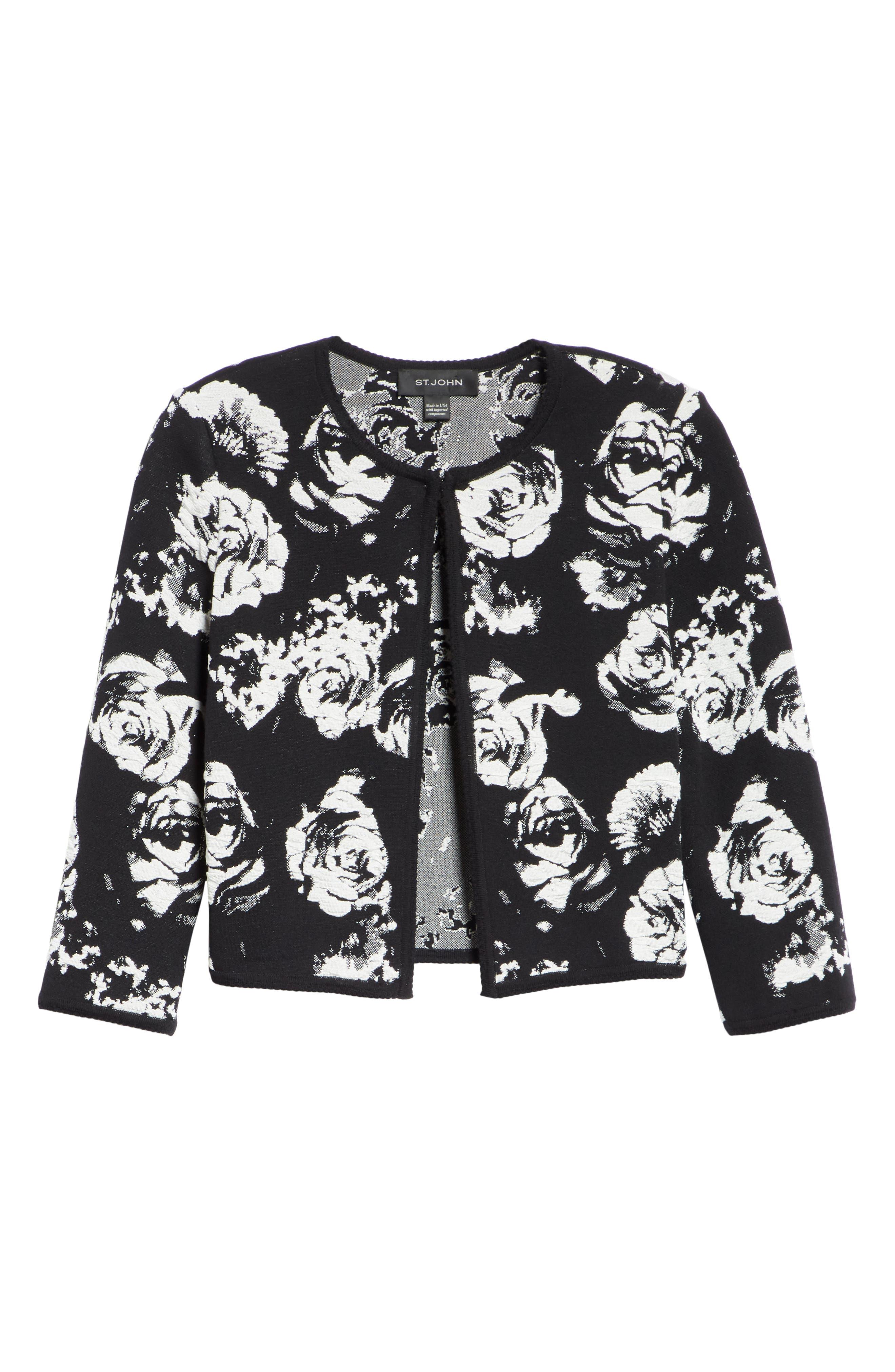,                             Floral Blister Knit Cardigan,                             Alternate thumbnail 7, color,                             CAVIAR/ CREAM