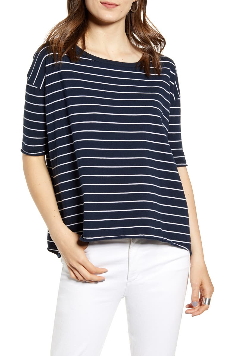 FRANK & EILEEN Core Stripe Elbow Sleeve Tee, Main, color, BRITISH ROYAL NAVY W/ WHITE ST