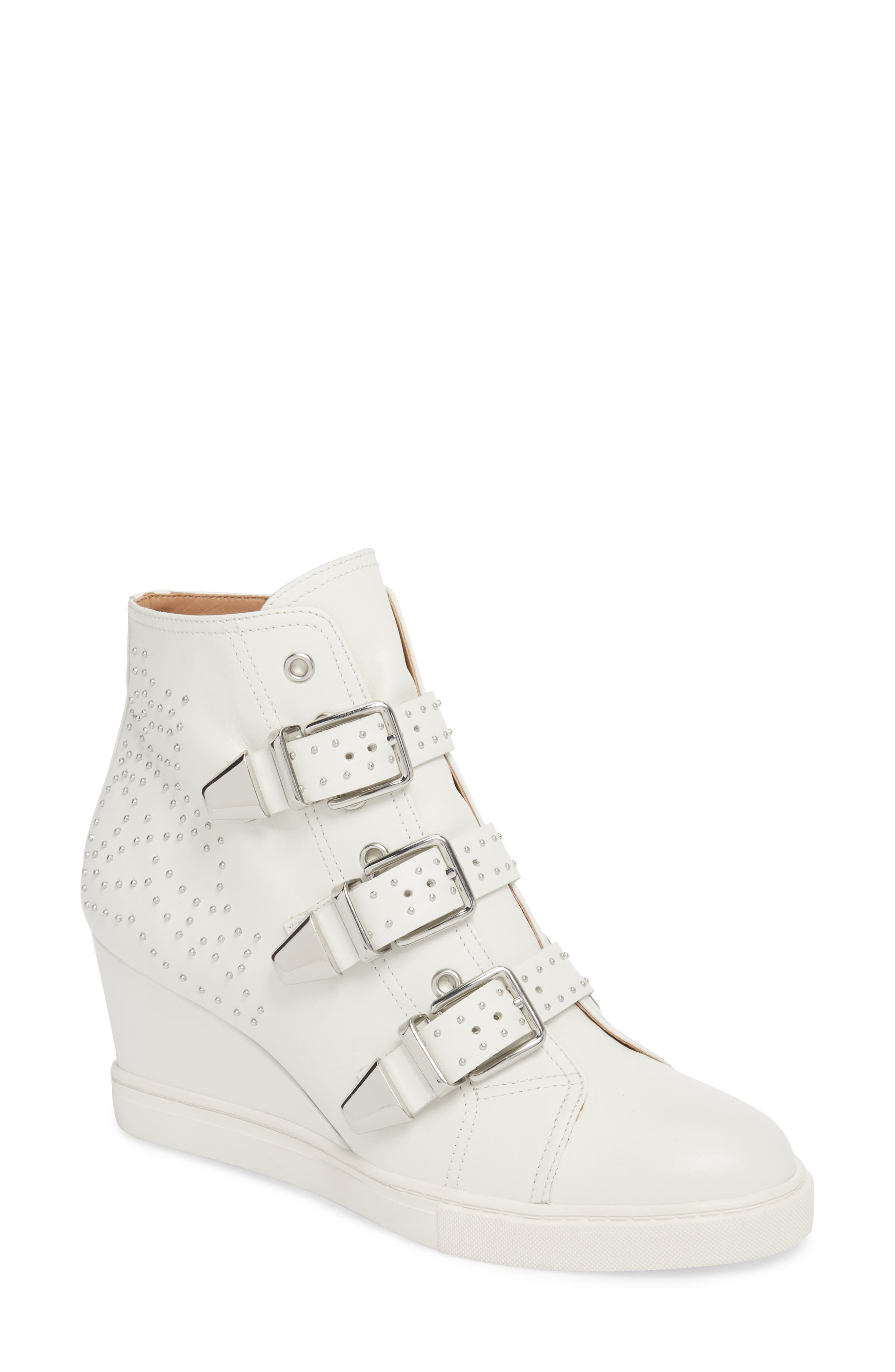 Linea Paolo Fawn Wedge Sneaker- White