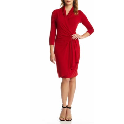 Karen Kane Cascade Faux Wrap Dress, Red