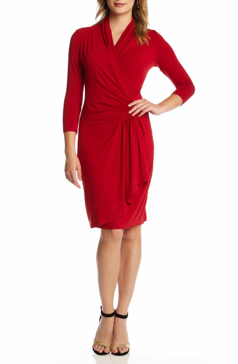 KAREN KANE Cascade Faux Wrap Dress, Main, color, RED