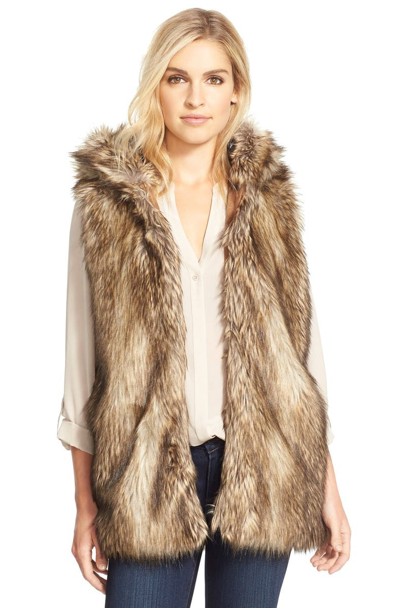 BCBGENERATION Hooded Faux Fur Vest, Main, color, 200