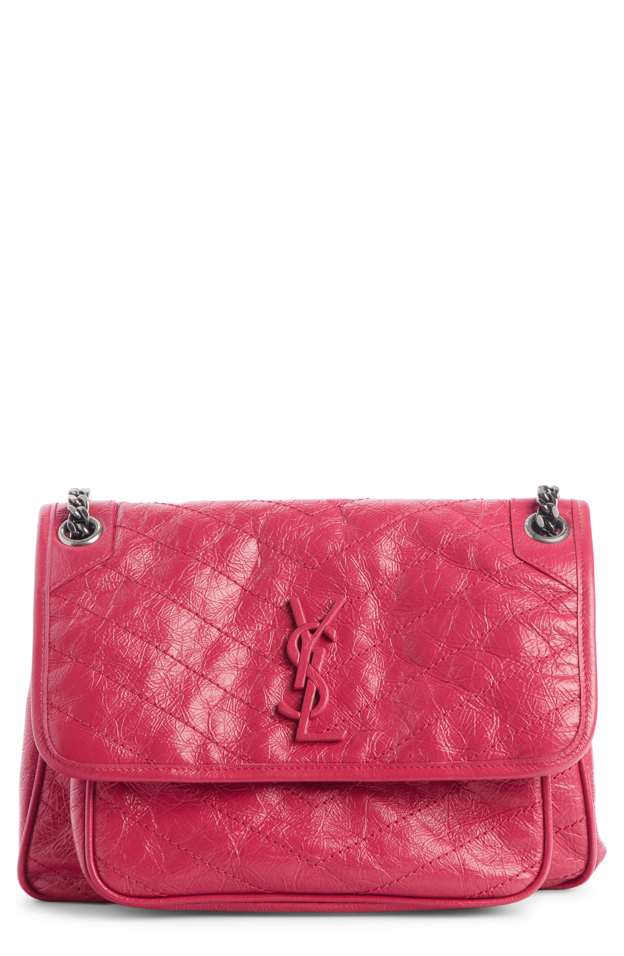 Medium Niki Leather Shoulder Bag, Main, color, FREESIA/ FREESIA