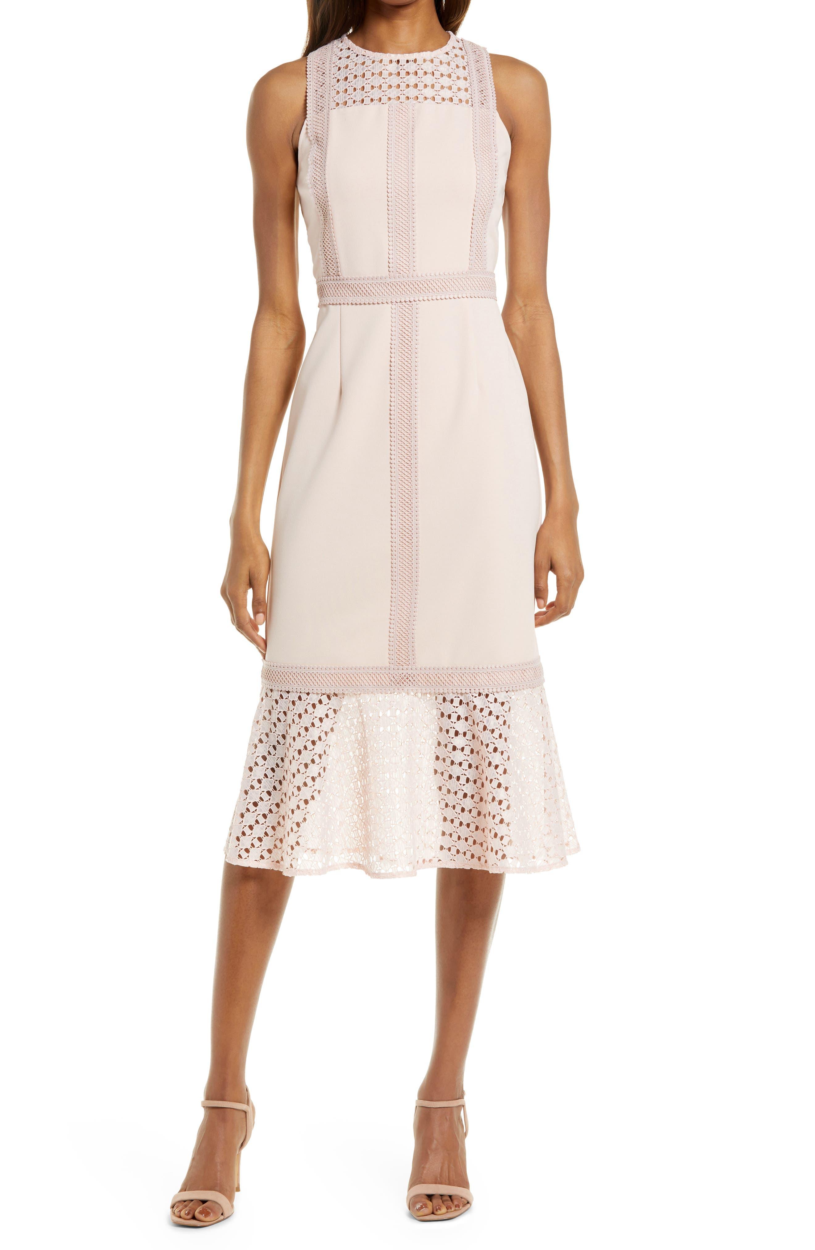 Mix Lace Sheath Dress