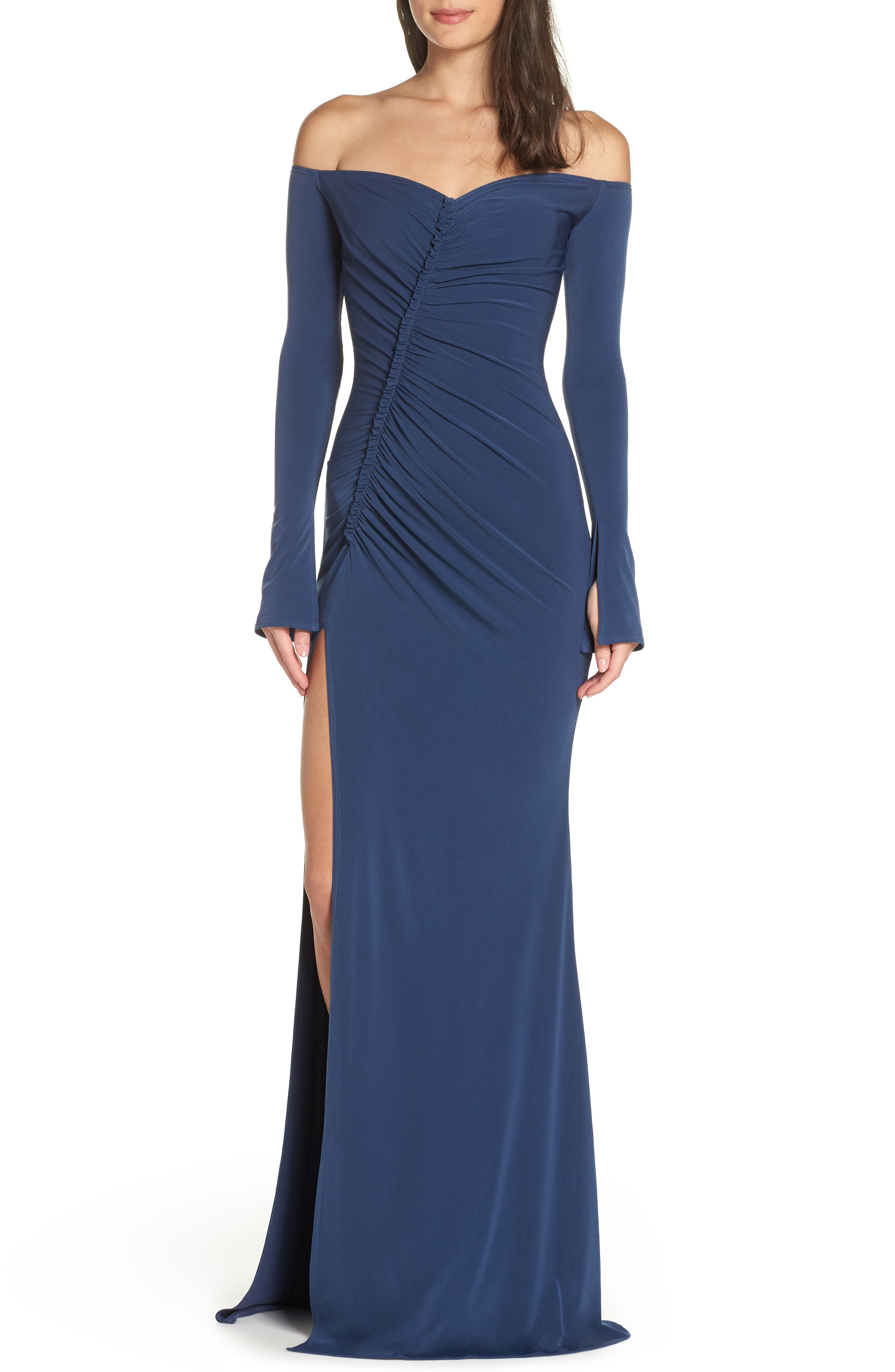 Katie May Off The Shoulder High Slit Gown