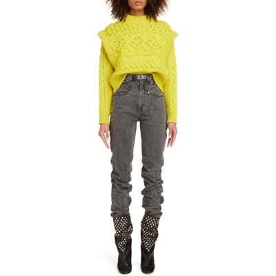 Isabel Marant Layered Cable Wool Sweater, US - Yellow