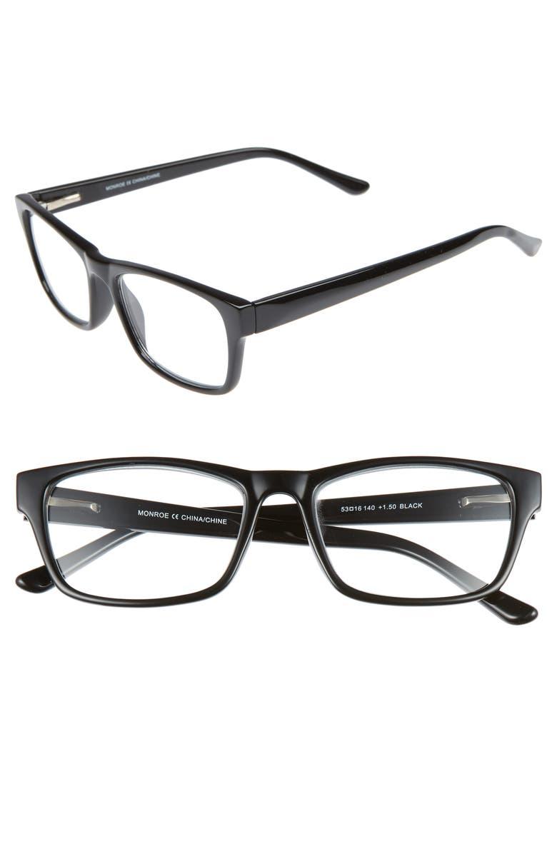 NORDSTROM MEN'S SHOP Monroe 53mm Reading Glasses, Main, color, 001