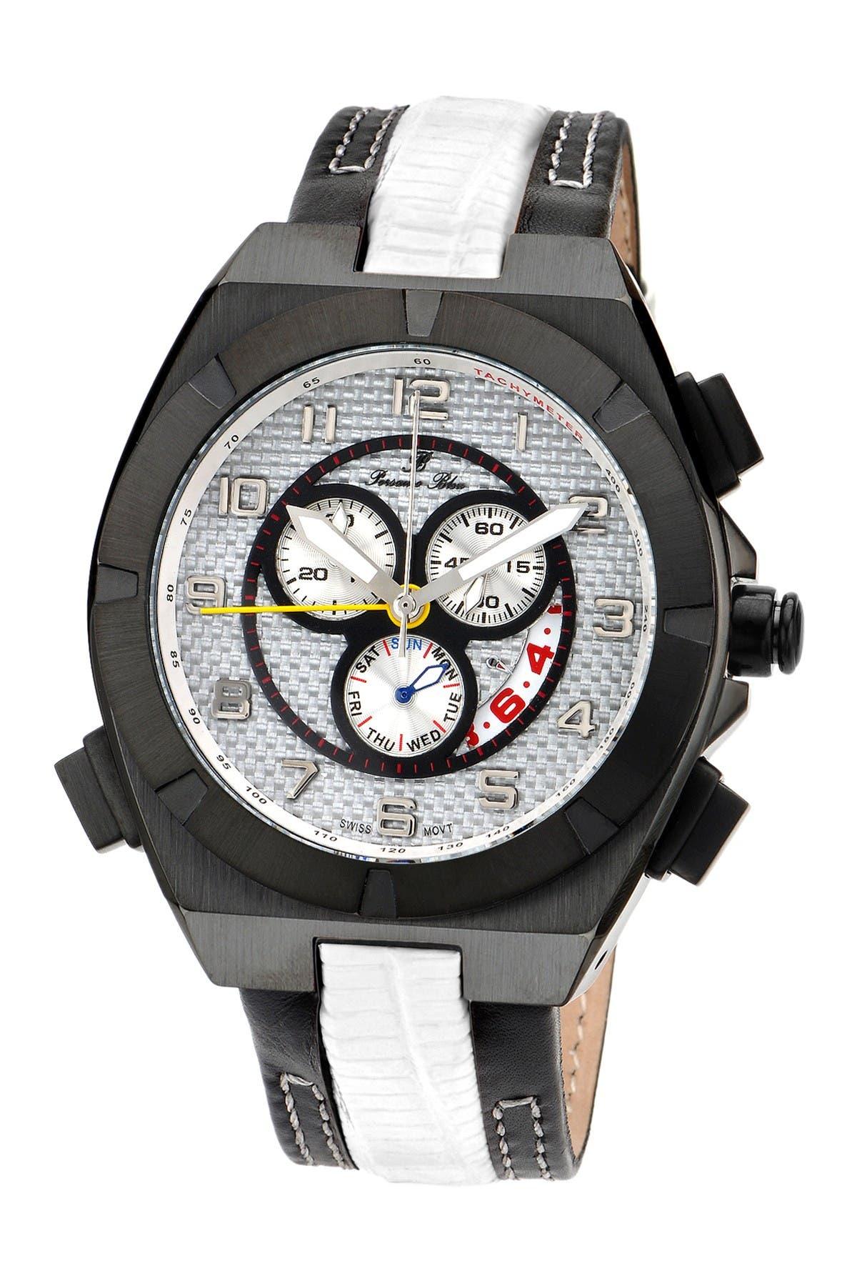 Image of Porsamo Bleu Men's Ibiza Genuine Leather Swiss Movement Watch, 48mm