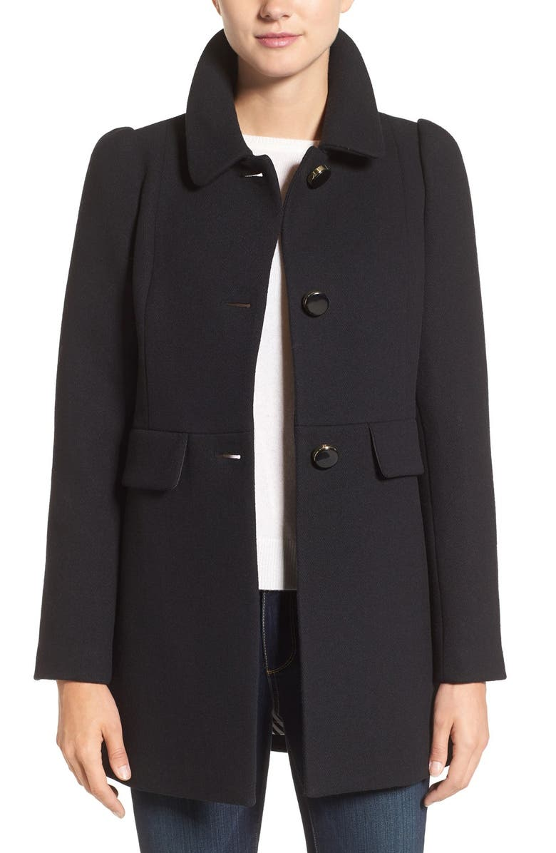 KATE SPADE NEW YORK wool blend a-line coat, Main, color, 001
