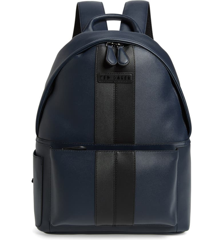 TED BAKER LONDON Stripe Faux Leather Backpack, Main, color, NAVY