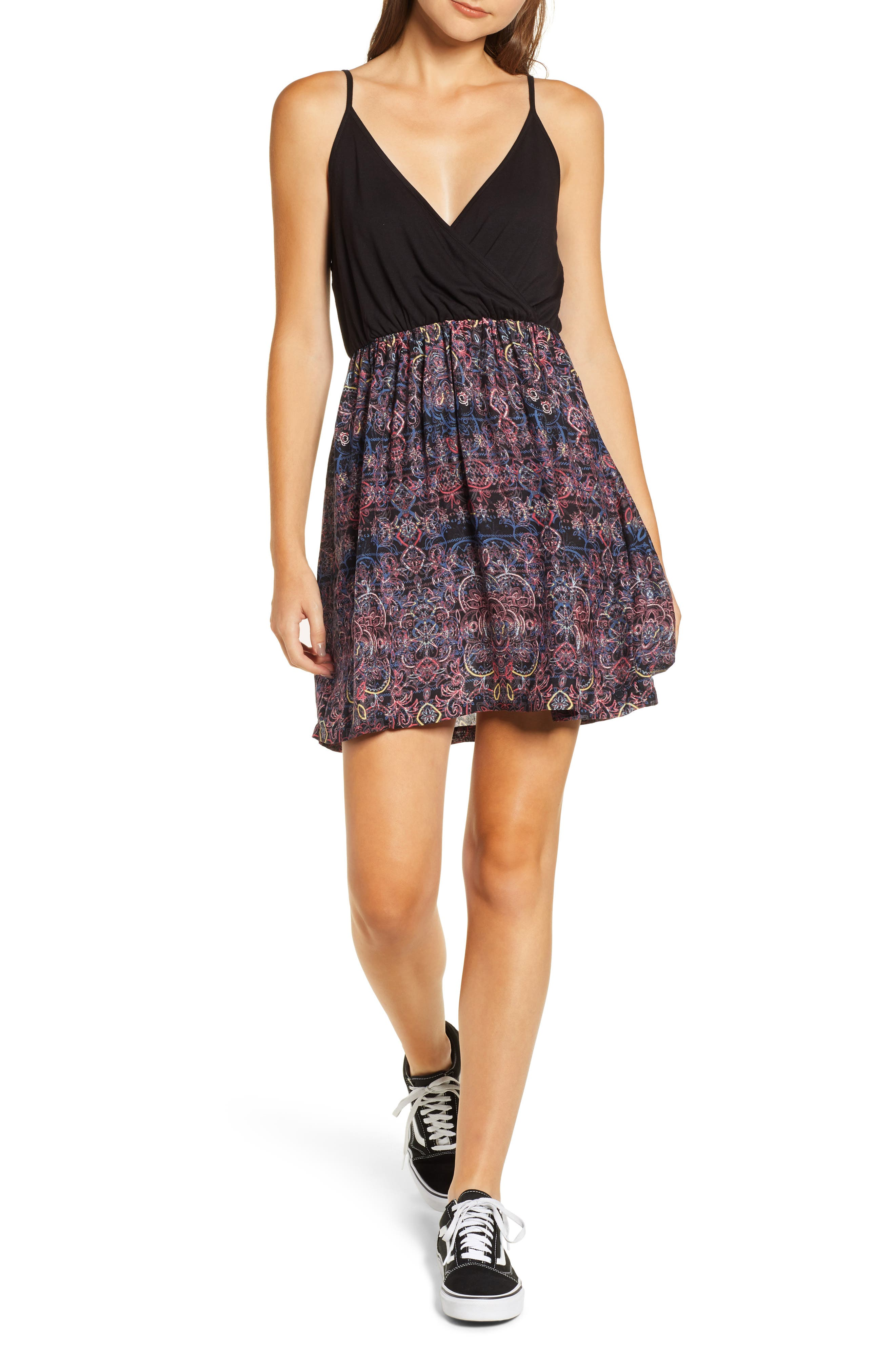 ,                             Floral Offering Minidress,                             Main thumbnail 1, color,                             001