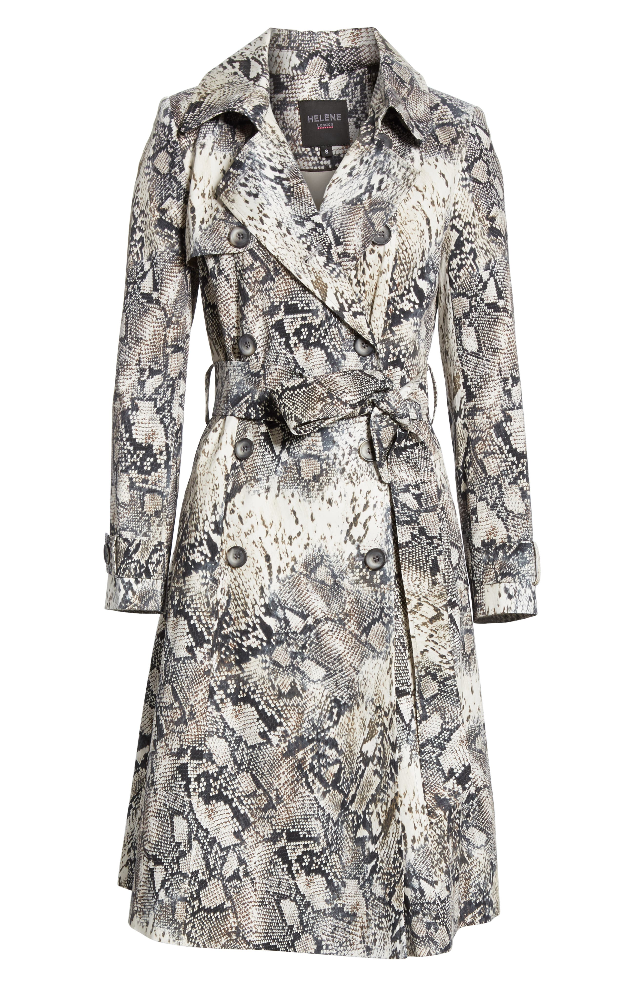 ,                             Snake Print Double Breasted Stretch Cotton Trench Coat,                             Alternate thumbnail 7, color,                             SNAKE