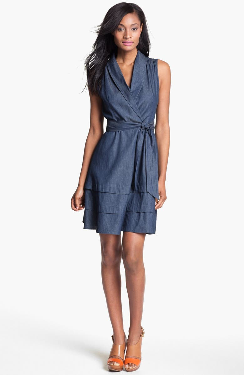 ADRIANNA PAPELL Faux Wrap Chambray Dress, Main, color, 424