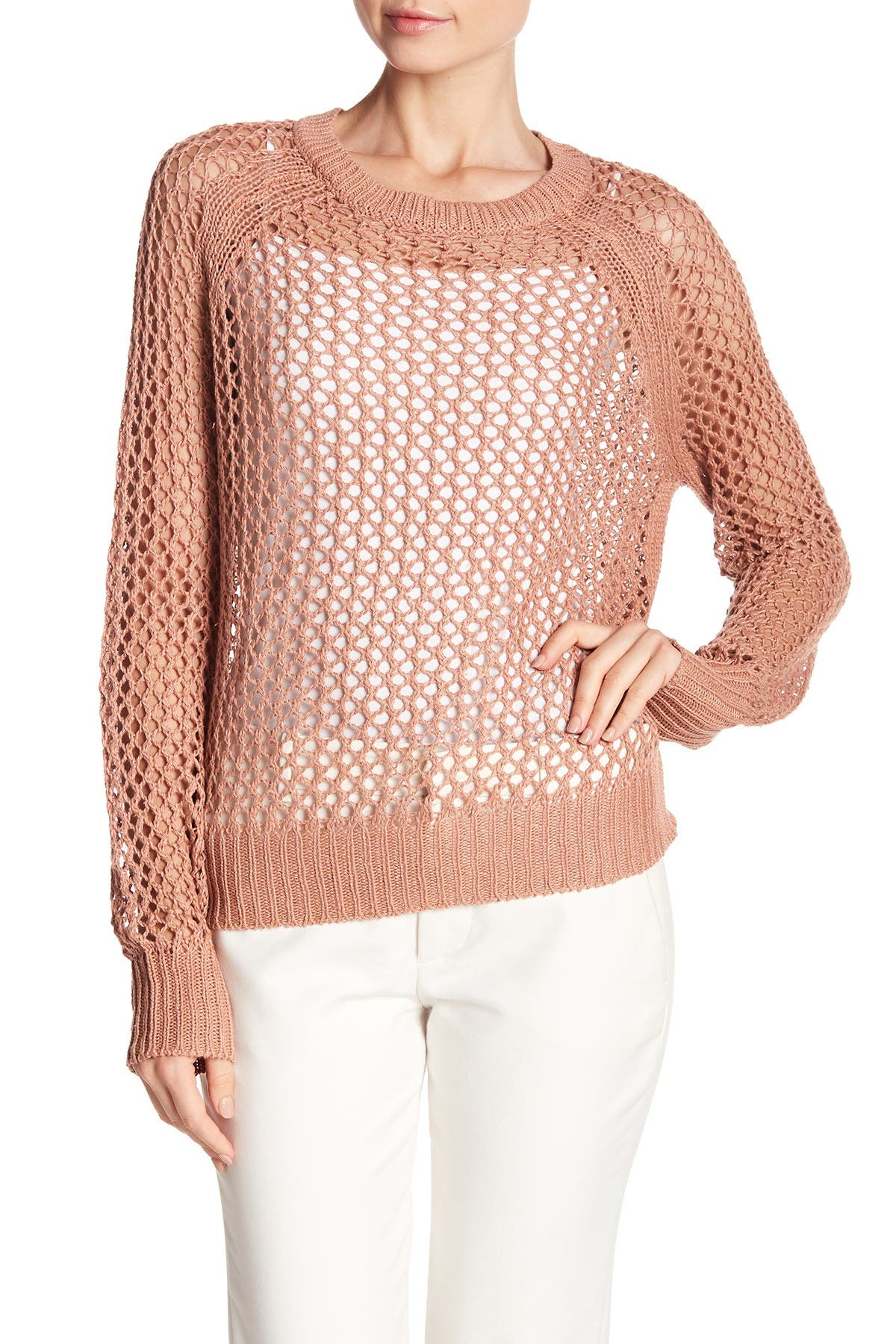Image of 360 Cashmere Amira Open Linen Blend Sweater
