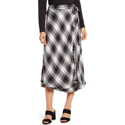 Caslon Plaid Wrap Skirt, Black