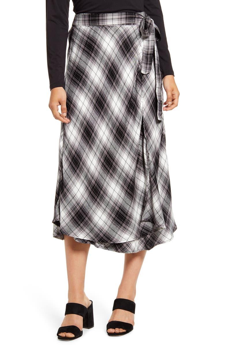 CASLON<SUP>®</SUP> Plaid Wrap Skirt, Main, color, BLACK IVORY C JAMES PLAID