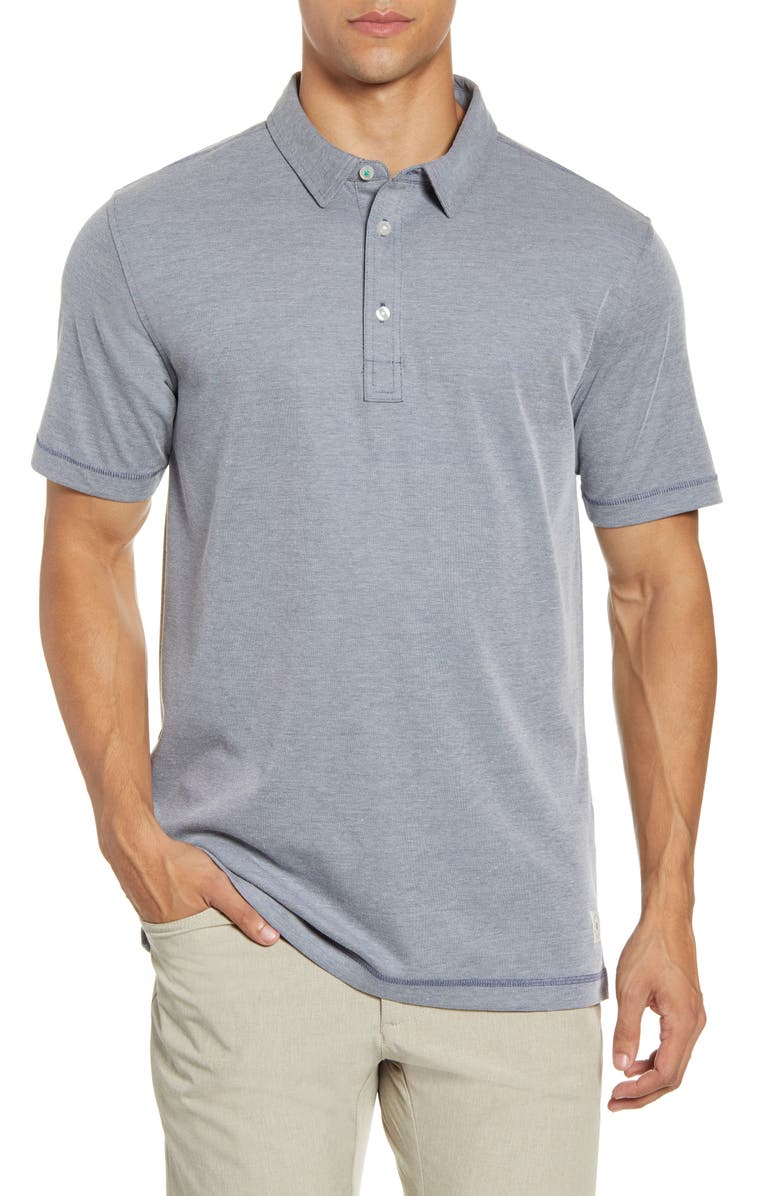 LINKSOUL Three-Button Performance Polo, Main, color, NAVY