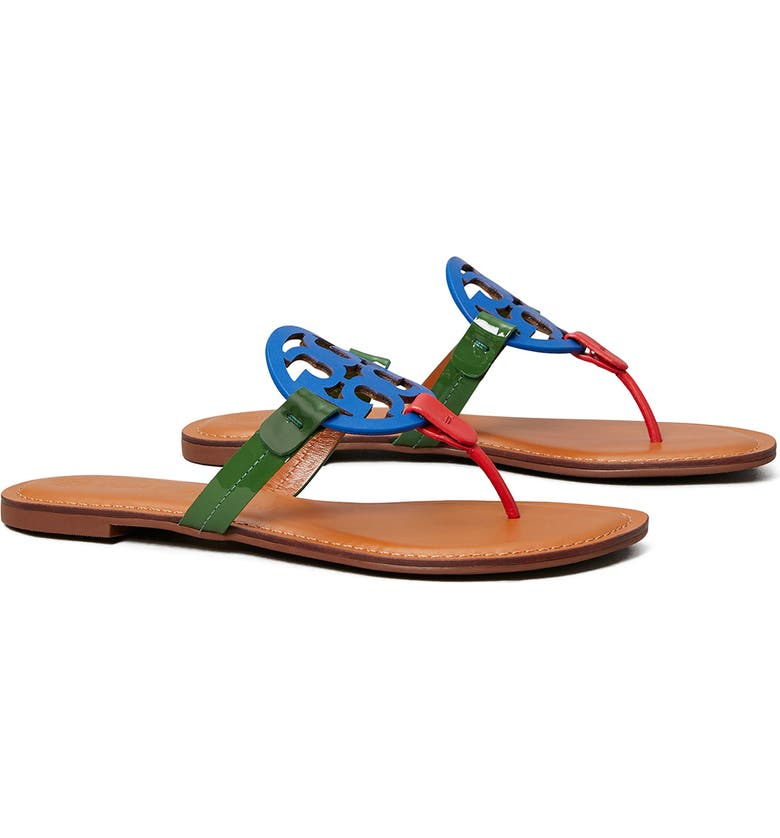 TORY BURCH Miller Flip Flop, Main, color, BLUE/ ARUGULA/ CARNELIAN