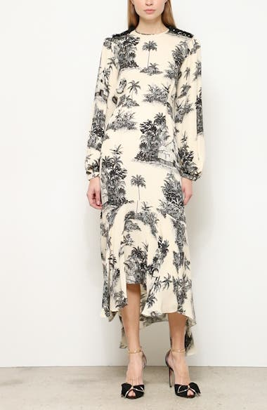 Toile Palm Print Long Sleeve Maxi Dress, video thumbnail