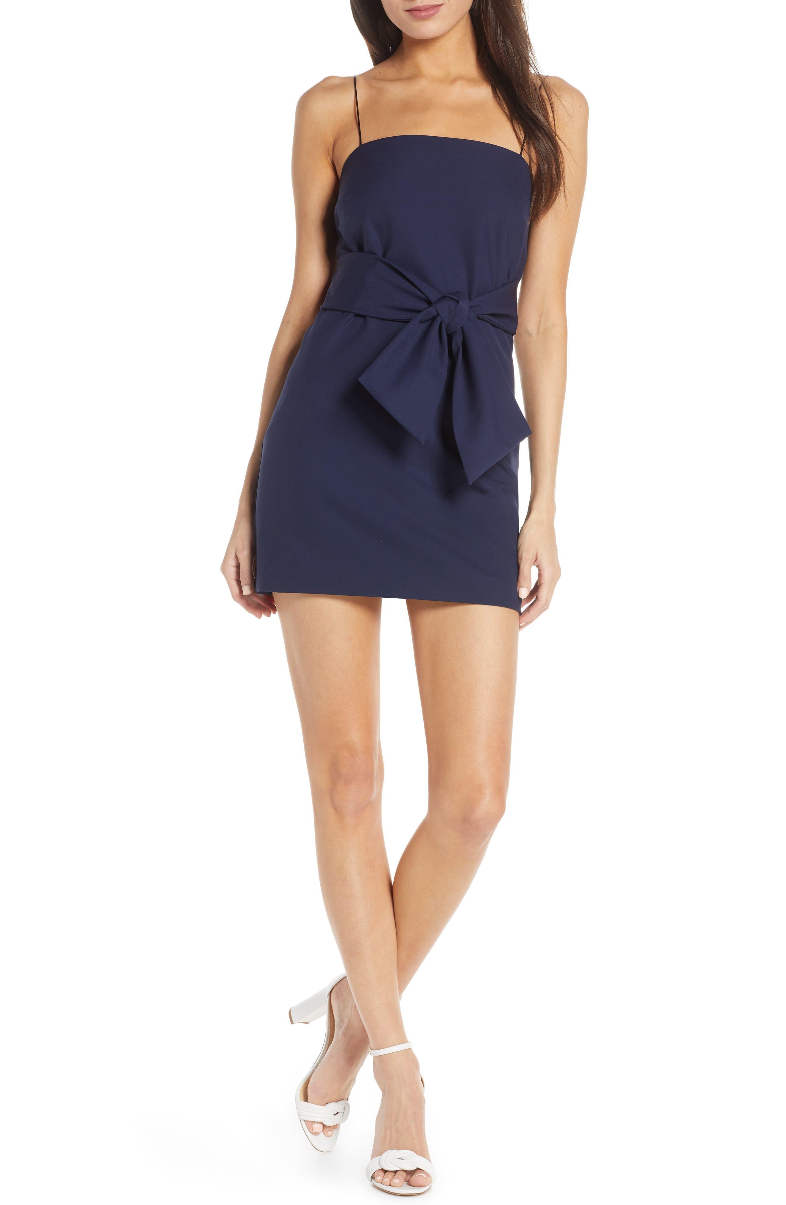 Finders Keepers Essie Tie Waist Minidress, Blue