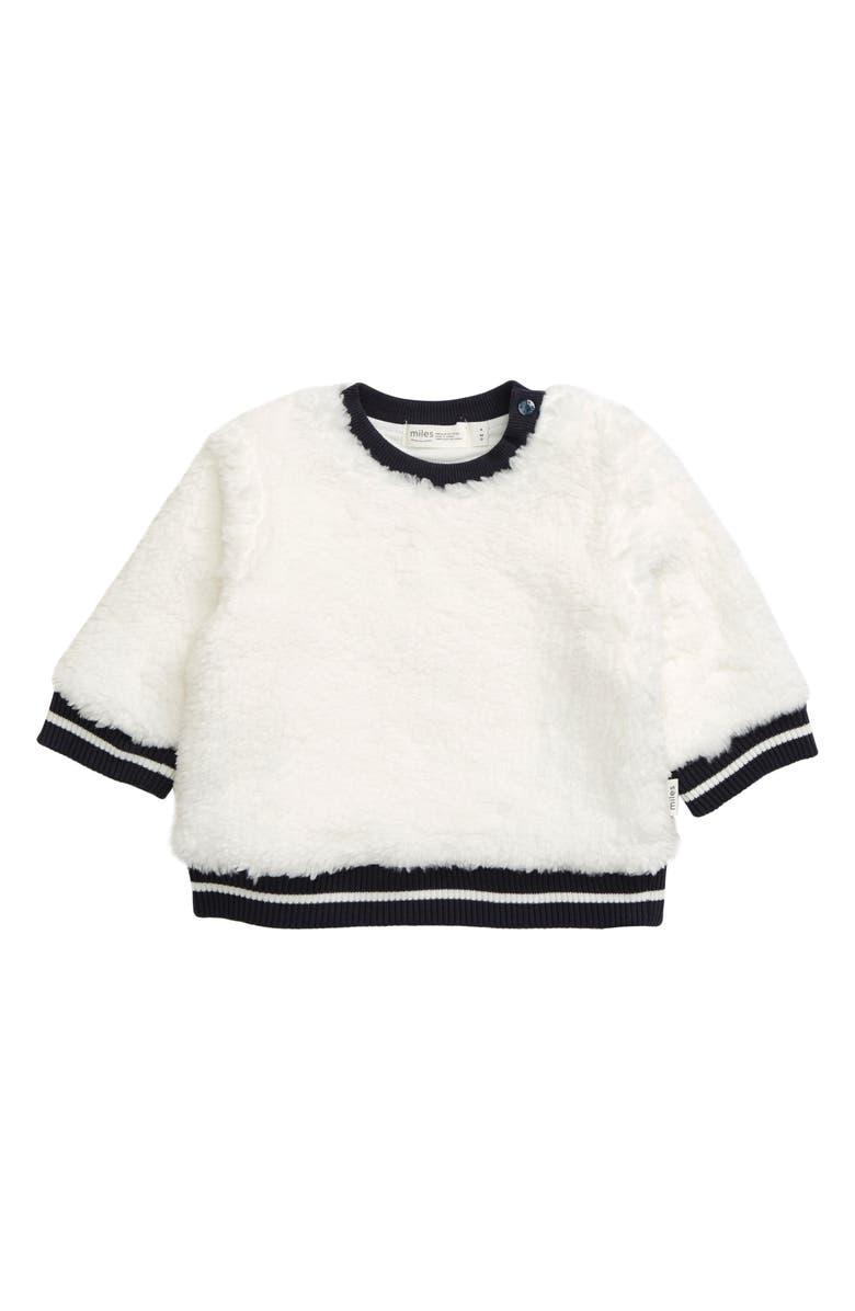 MILES BABY Fleece Sweatshirt, Main, color, OFF WHITE