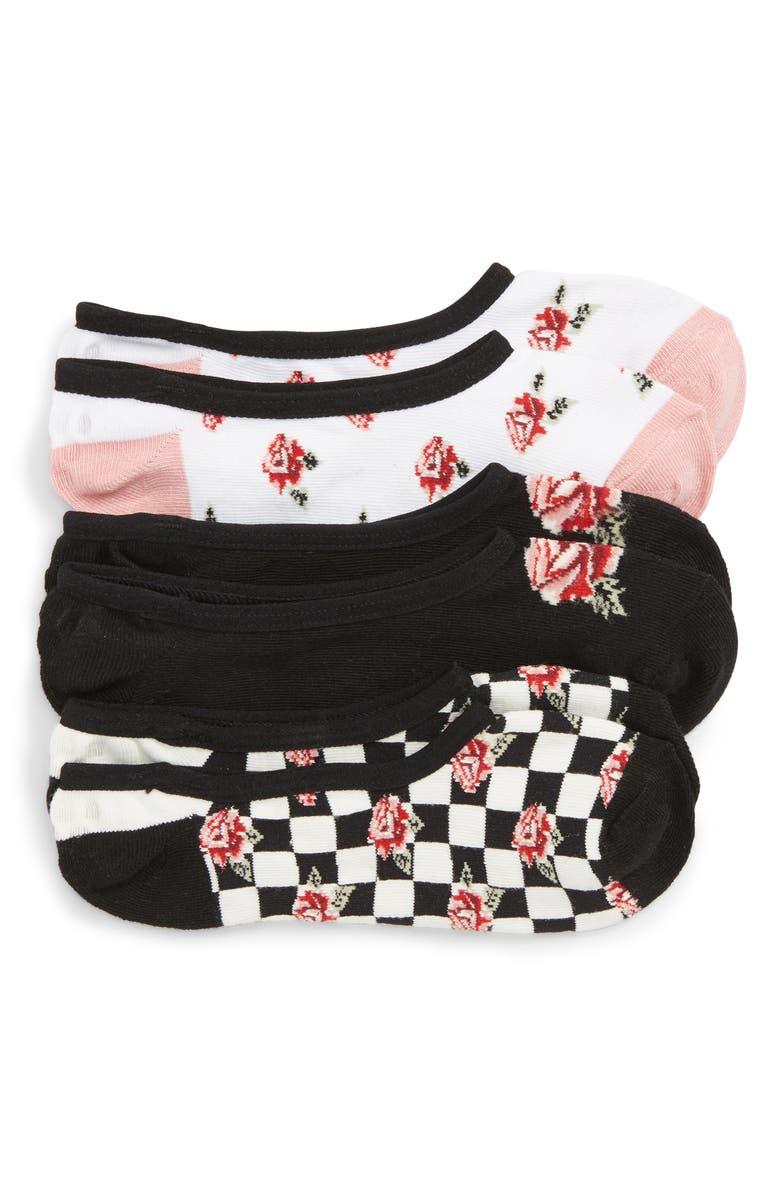 VANS 3-Pack Canoodle Rose Motif Socks, Main, color, 005