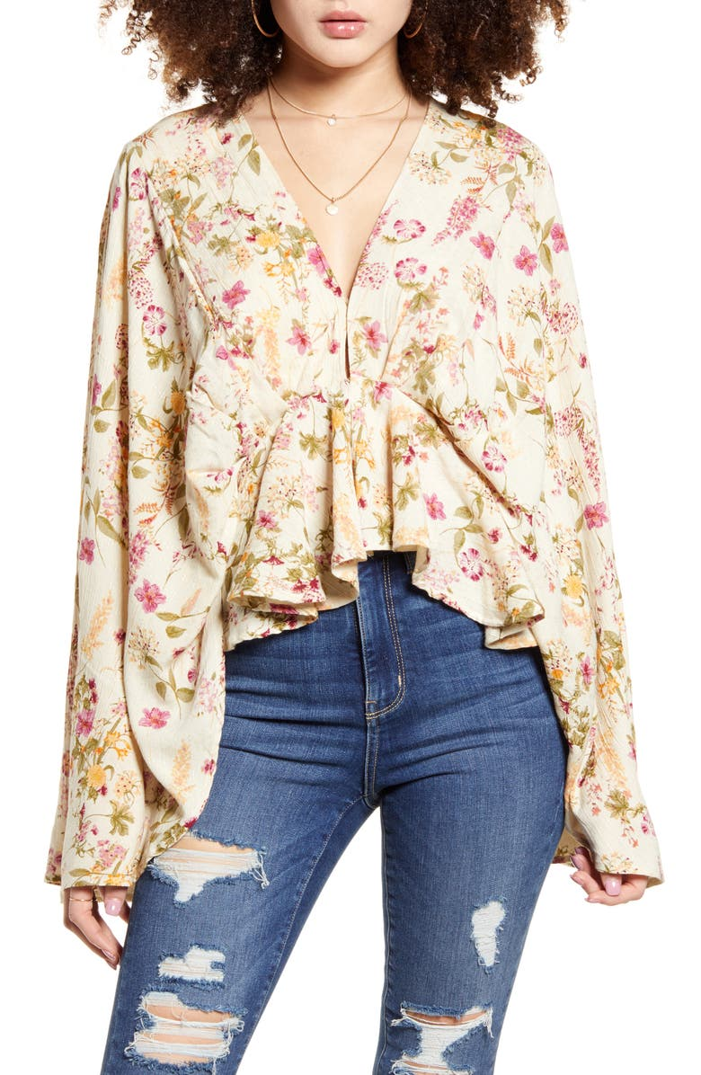 BAND OF GYPSIES Agave Floral Print Bell Sleeve Top, Main, color, IVORY PINK