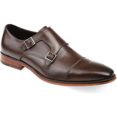 Thomas And Vine Rockwell Double Strap Cap Toe Monk Shoe, Brown