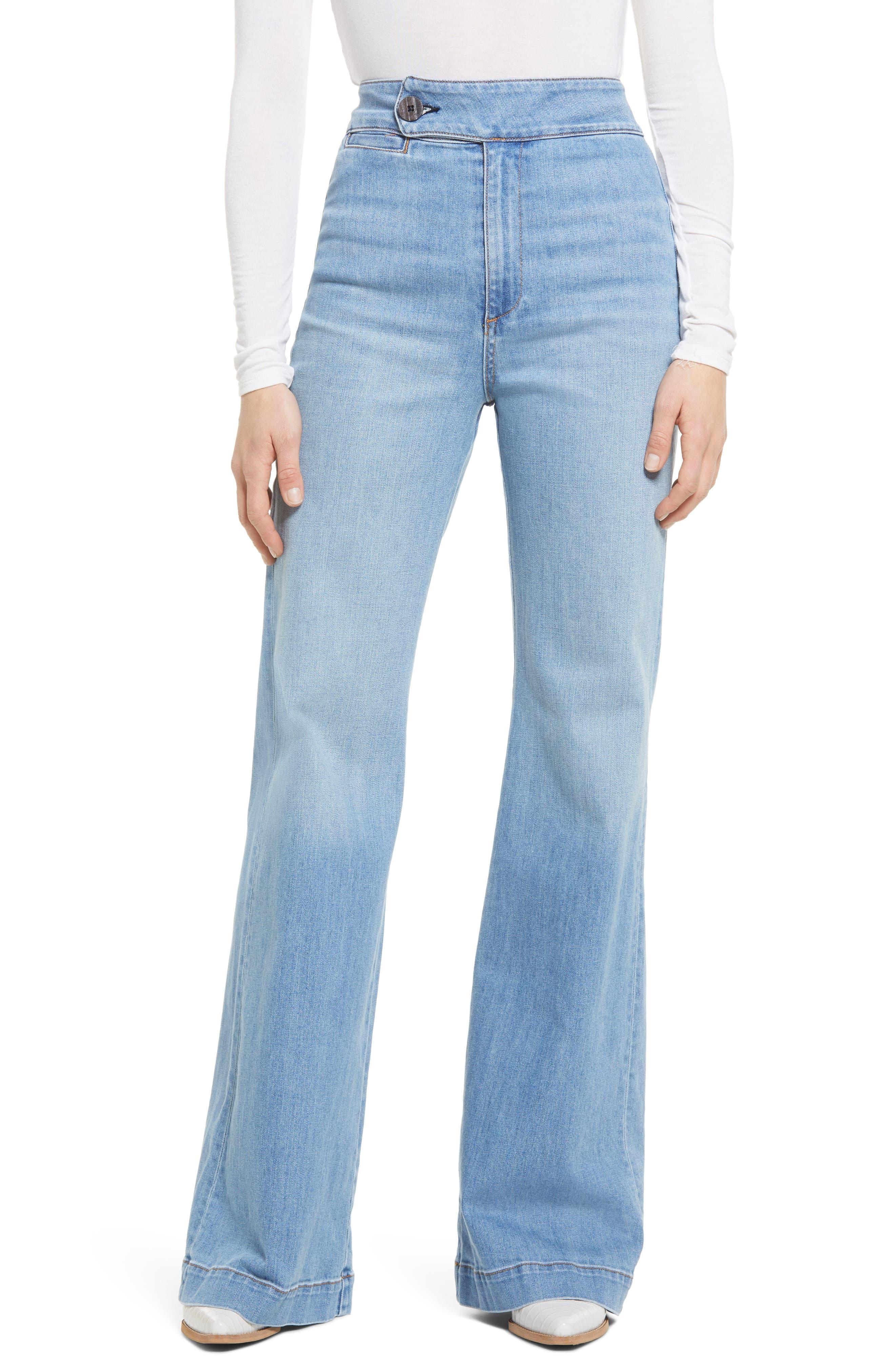60s Pants, Jeans, Hippie, Flares, Jumpsuits Womens Askk Ny 70S High Waist Wide Leg Jeans Size 29 - Blue $225.00 AT vintagedancer.com