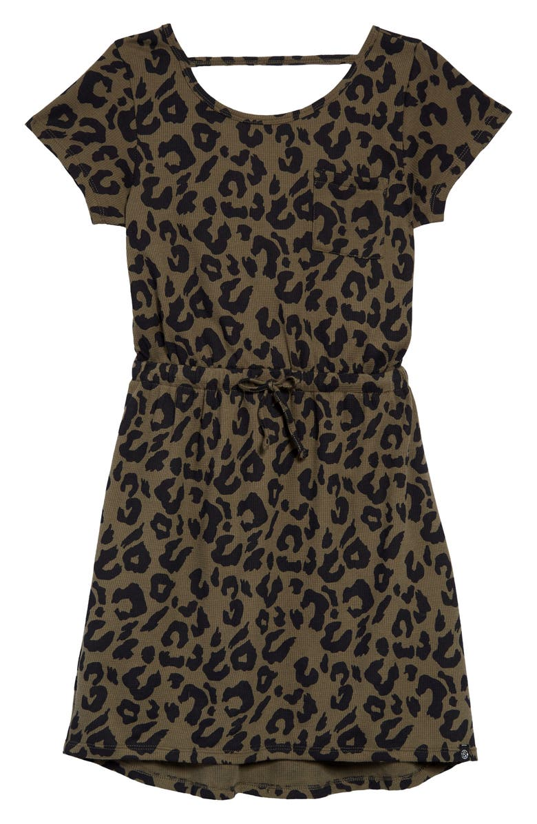 TREASURE & BOND Cozy T-Shirt Dress, Main, color, OLIVE SARMA LEOPARD
