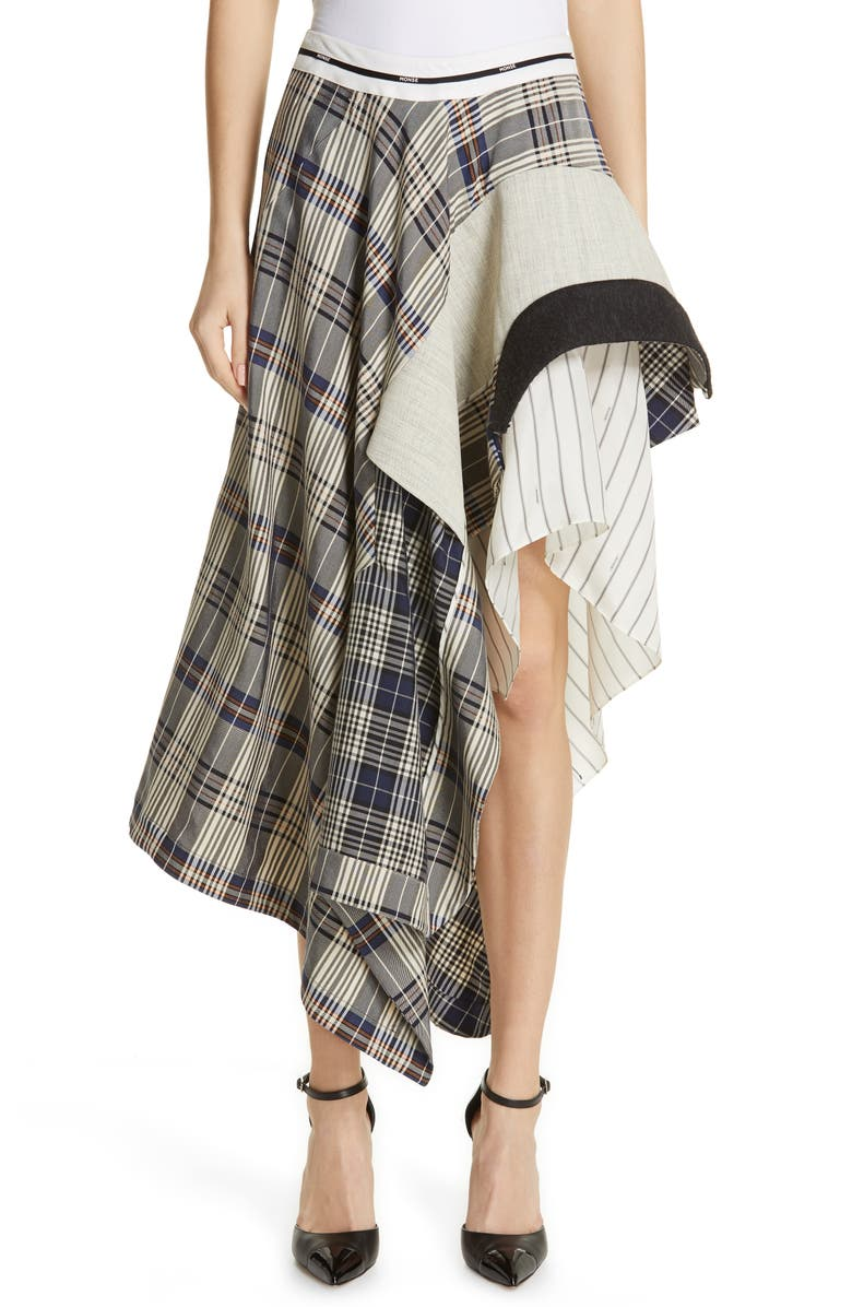 MONSE Mixed Media Asymmetrical Draped Skirt, Main, color, VINTAGE PLAID