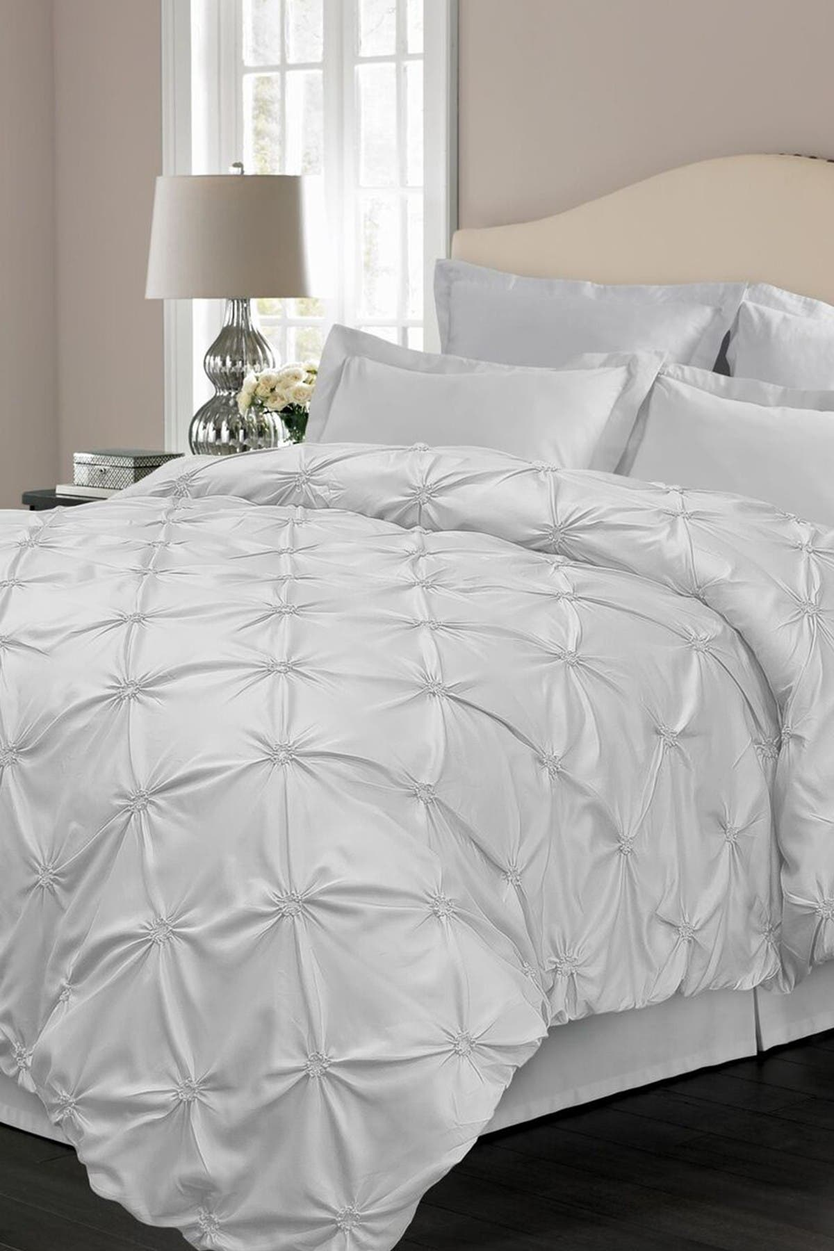 Blue Ridge Home Fashions Oversize Floral Pintuck Microfiber Duvet Cover Set King White Nordstrom Rack
