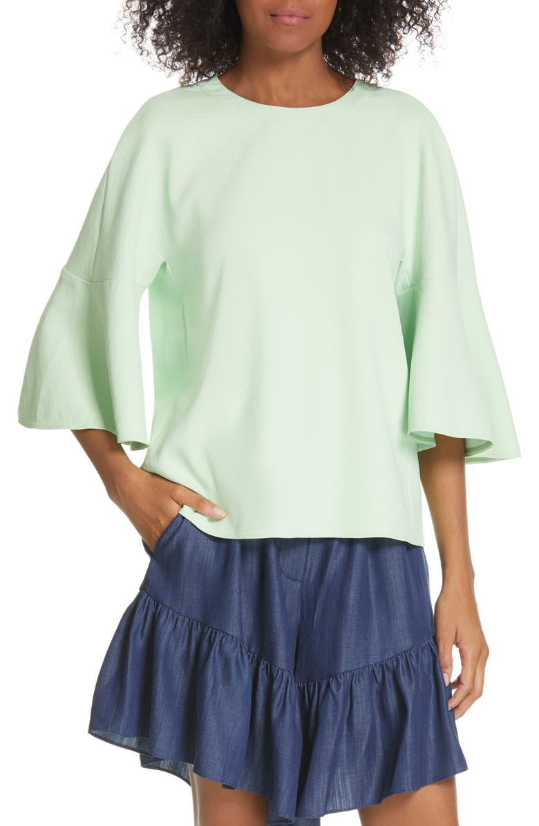 TIBI Chalky Drape Ruffle Sleeve Top, Main, color, MINT