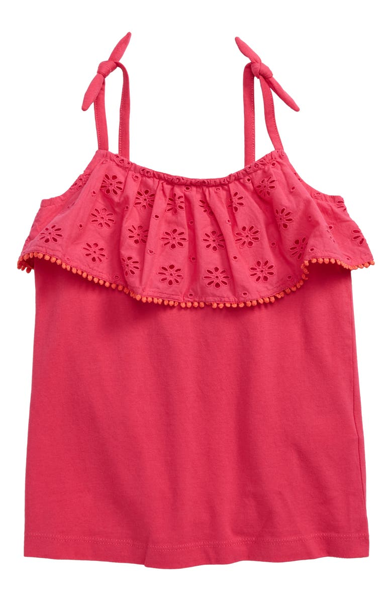MINI BODEN Broderie Anglaise Ruffle Tank, Main, color, PNK PINK GLO