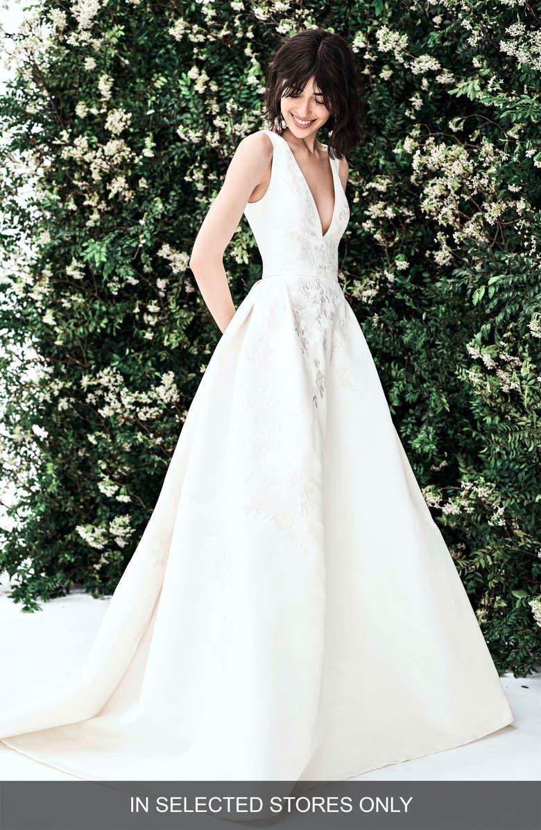 CAROLINA HERRERA Lena Embroidered Silk Faille Wedding Dress, Main, color, IVORY