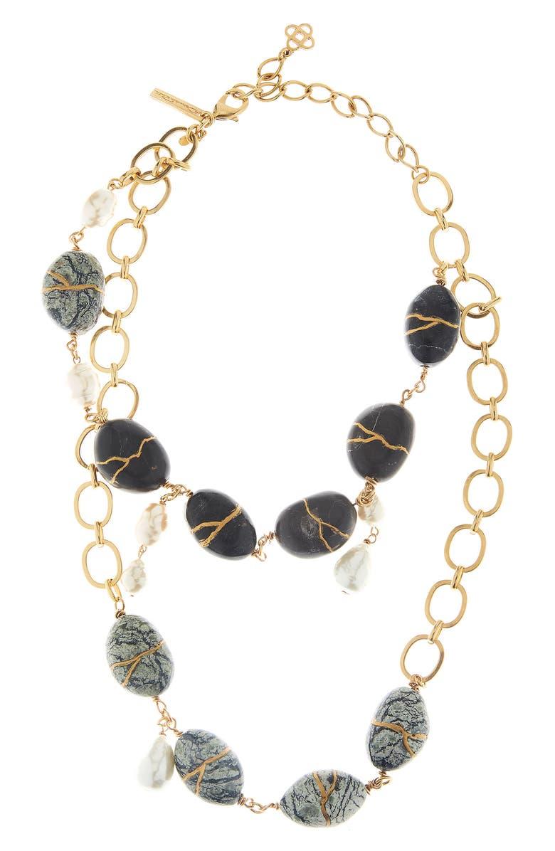 OSCAR DE LA RENTA Kintsugi Stone & Freshwater Pearl Necklace, Main, color, BLACK OBSIDIAN