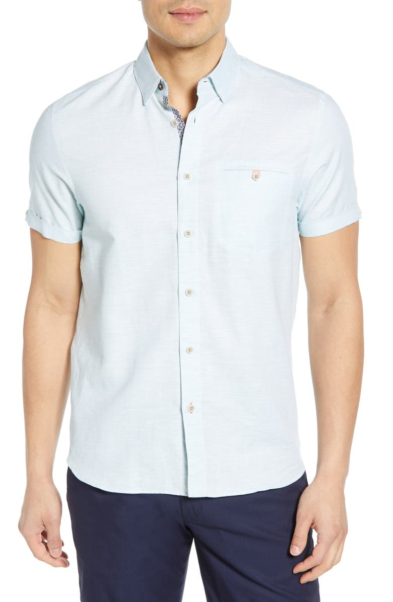 TED BAKER LONDON Clion Slim Fit Shirt, Main, color, GREEN